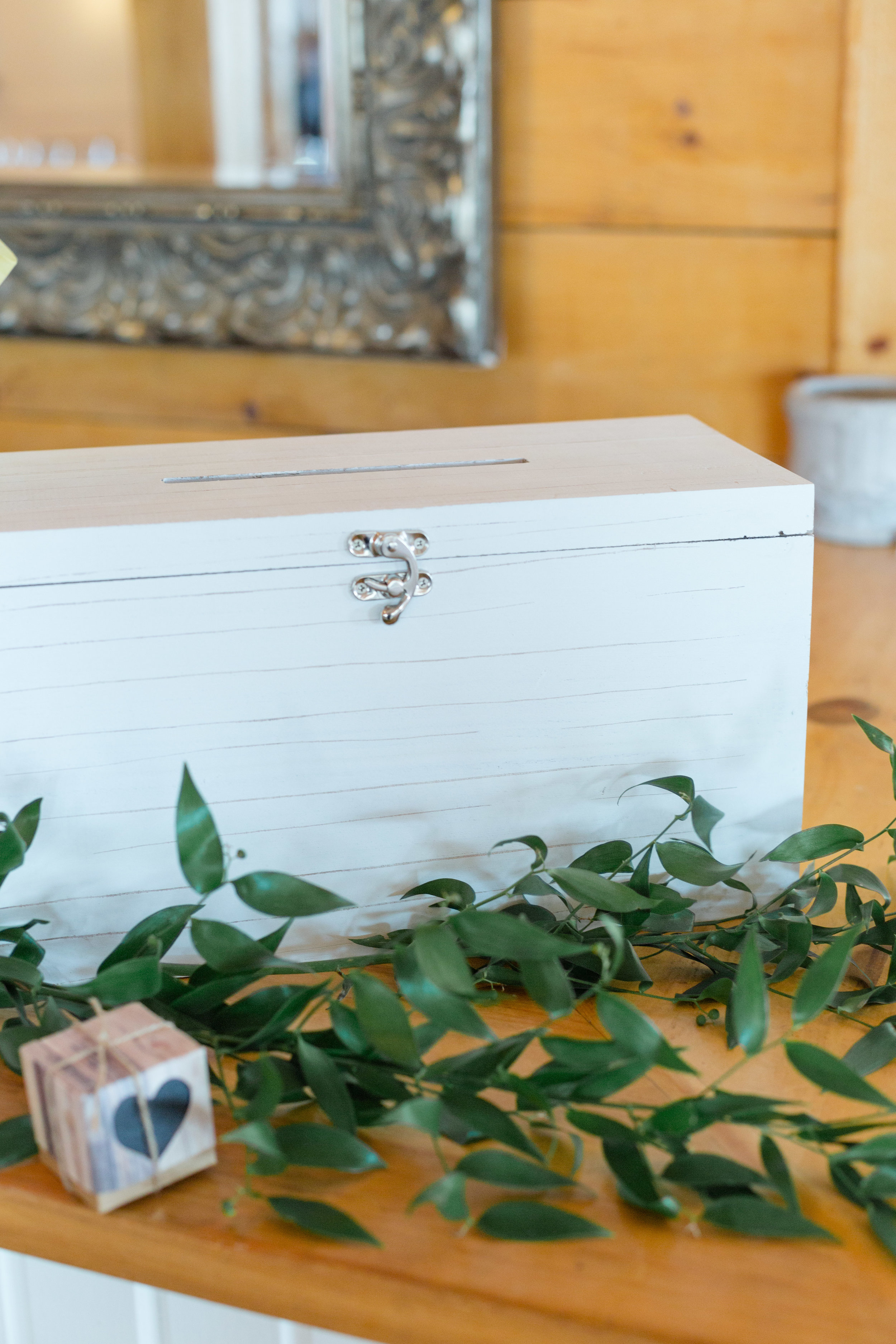 White washed wooden card box  Photo by  Nicole Anne Photography