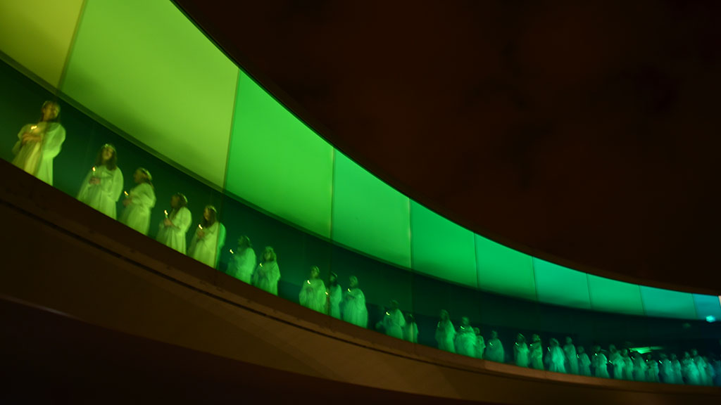 St. Lucy's procession inside ARoS's Rainbow Panorama - (credit  Visit Aarhus )