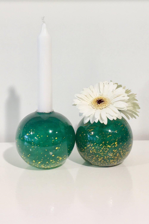 Pollen Glass Candleholder - Jade Green yellow spots - Unique Handblown Glass Work