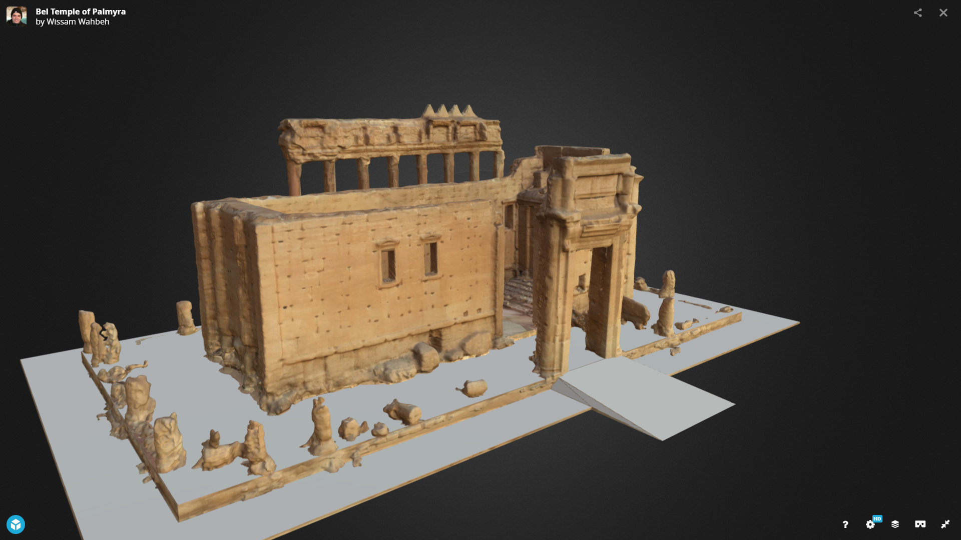 A 3D reconstruction of the Temple of Bel from Palmyra, which was destroyed by the Islamic State in 2015. From within the Rekrei website, users can choose to view all the images in VR - meaning they can freely navigate through 360 degrees of an object, artwork or piece of architecture like this - in a way that has never been done before.