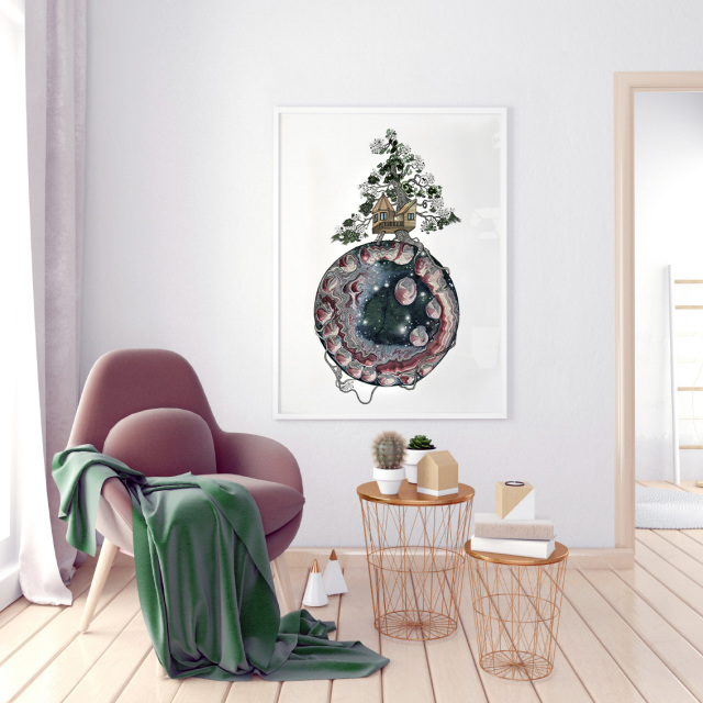 Modern interior with coffee table and chair. Poster mock up. 3d