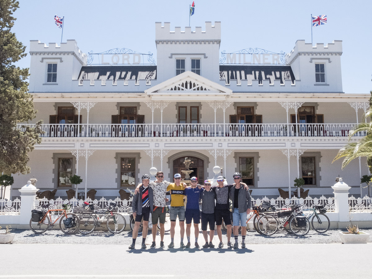 Stan's seven cyclists set to go from The Lord Milner Hotel in Matjiesfontein (picture by John Watson  The Radavist )