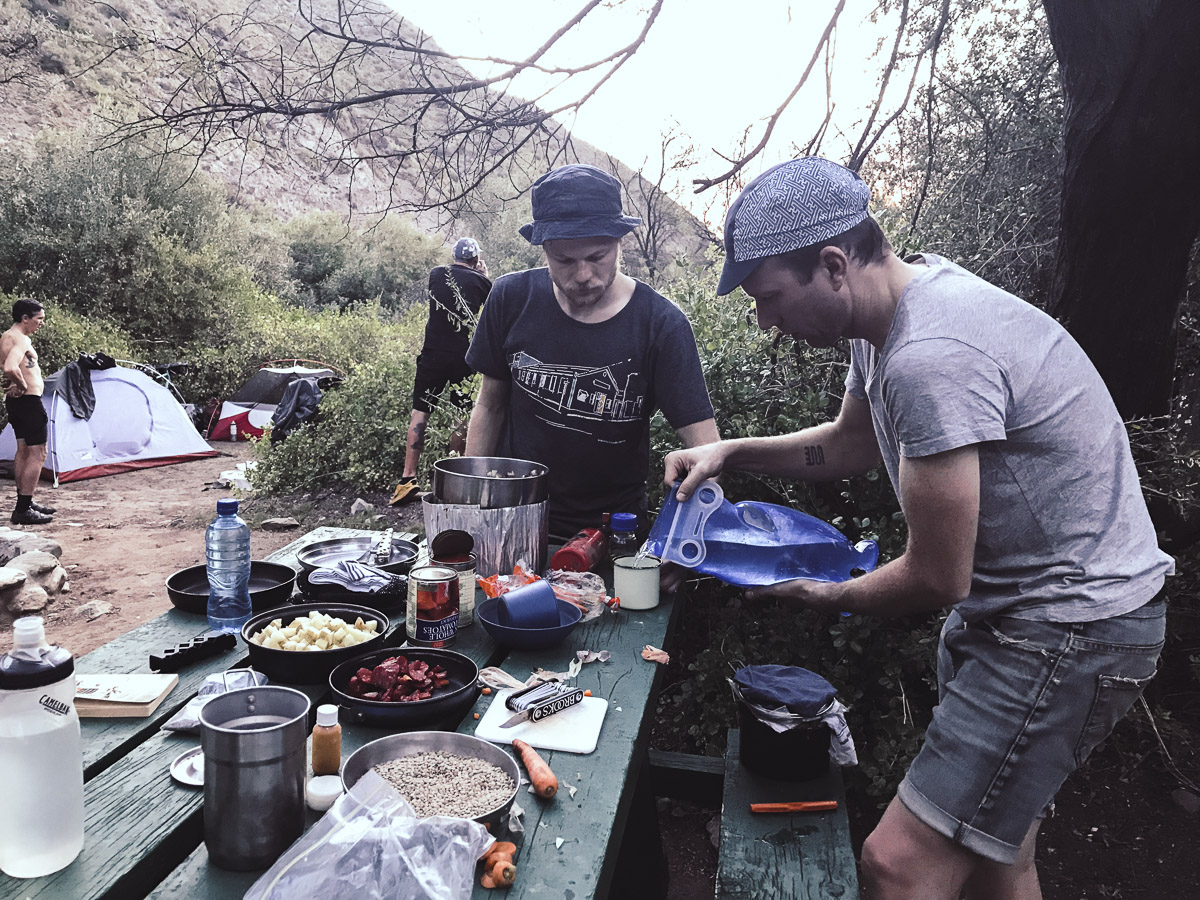 We ended up at a Cape Nature campsite in the valley. Bregan promptly started cooking up a special dish for us with some fancy sausage he had brought along.