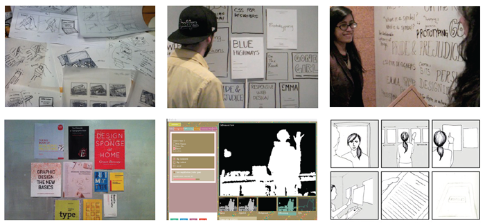 Views of prototypes of varying levels of fidelity that we made throughout our design process.