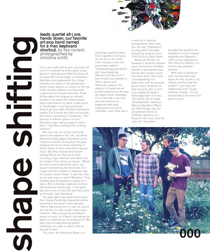 NYLON Magazine, September 2012 issue. Radar: Alt-J