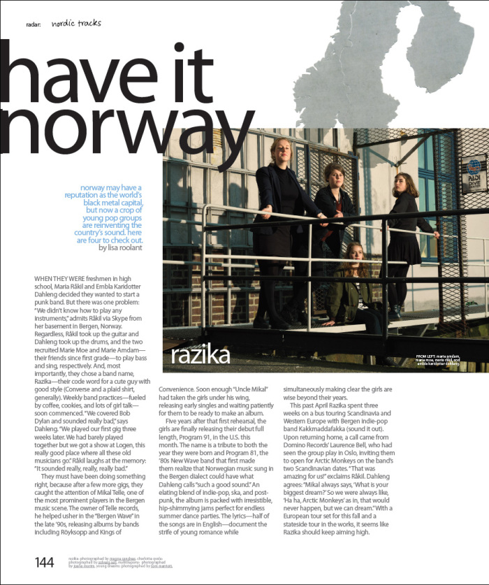 NYLON Magazine, August 2011. Radar, two-page spread (feature article + sidebar)