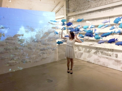 Danielle on the third floor art installation of Dr. Jart's on Apgujeong Rodeo Street