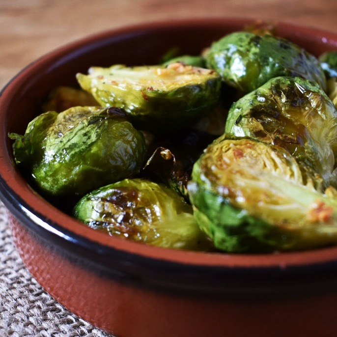 Vegan crispy garlic roasted sprouts recipe