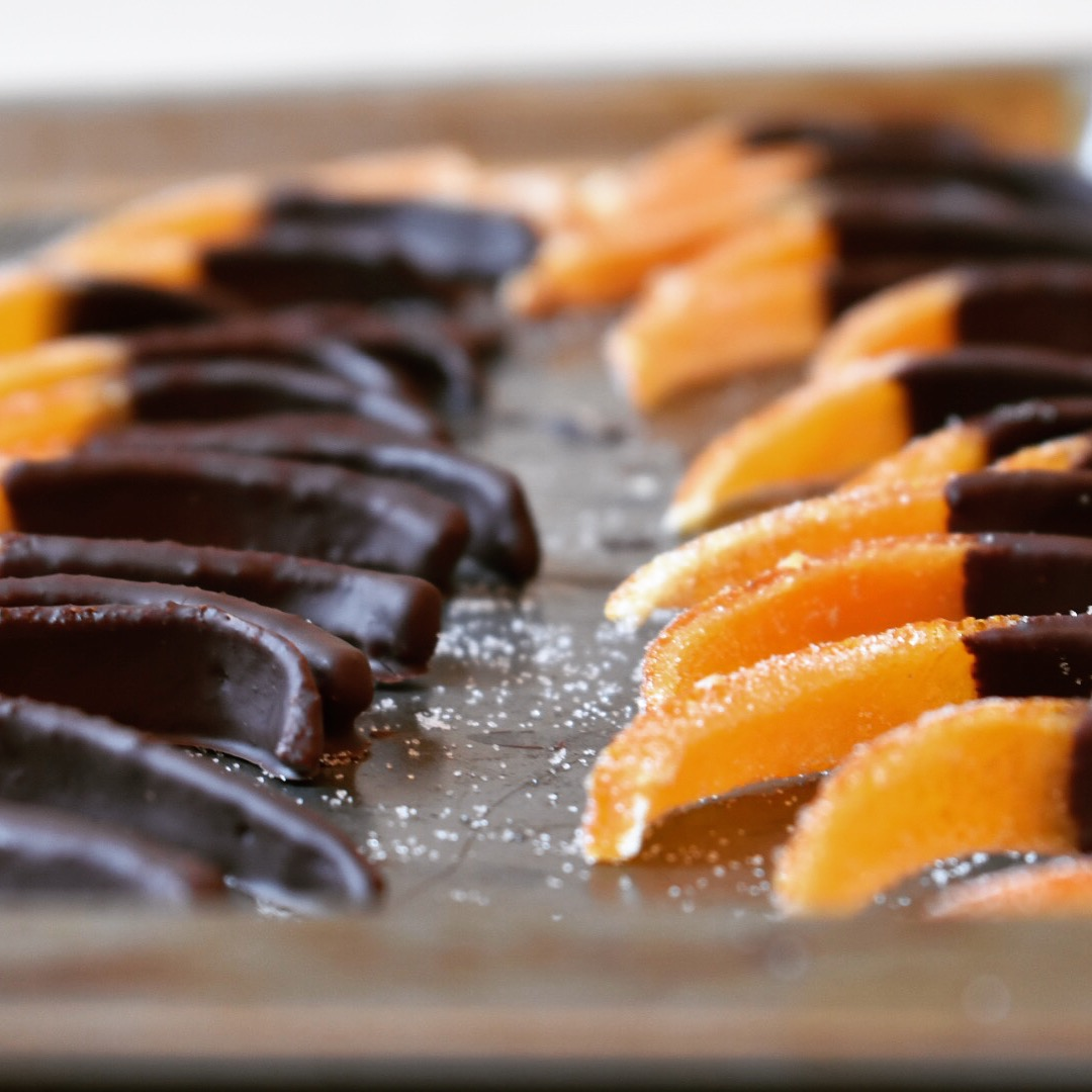 Vegan chocolate coated candied orange peel recipe