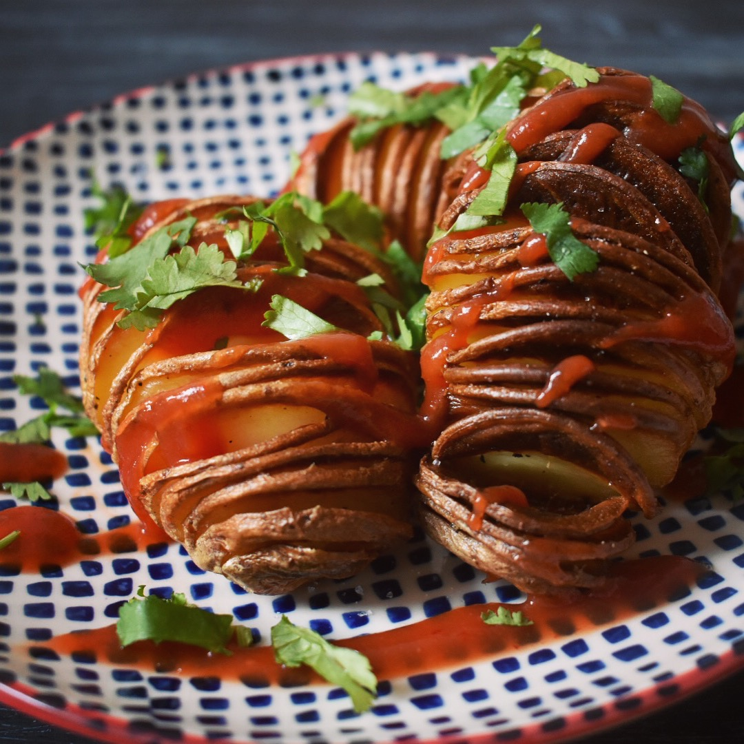 Vegan hasselback potato recipe
