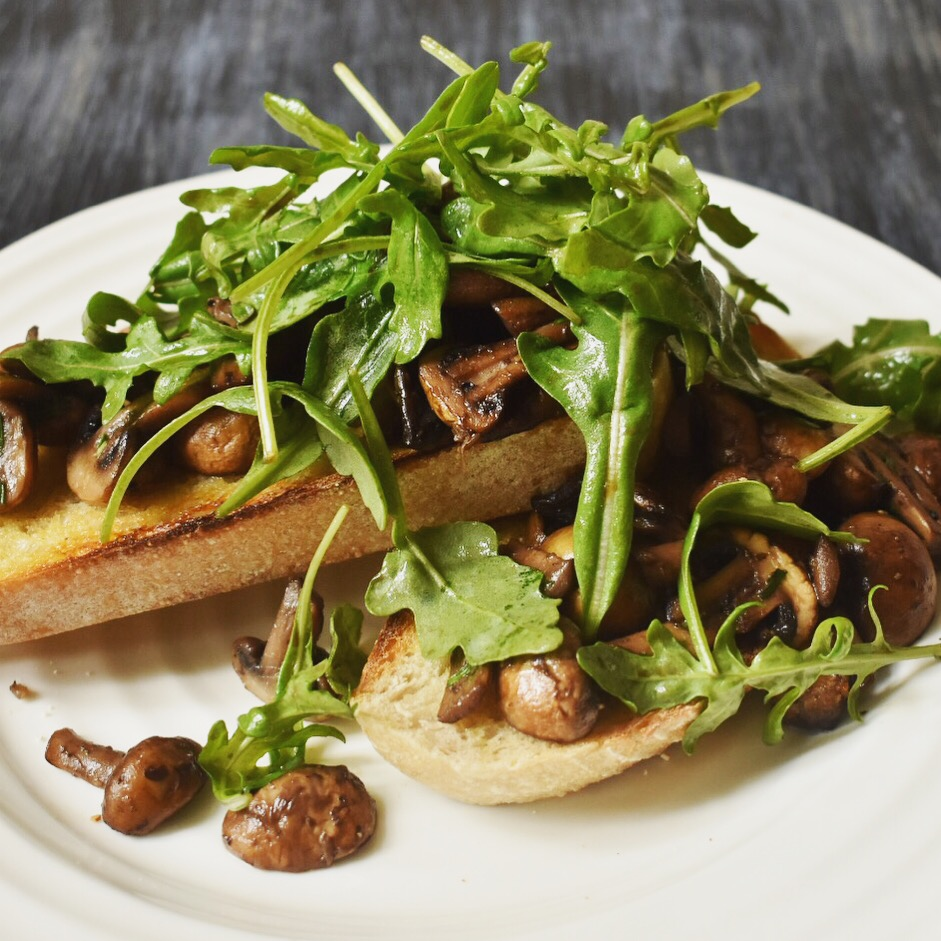 Vegan garlic and tarragon mushrooms on toast recipe