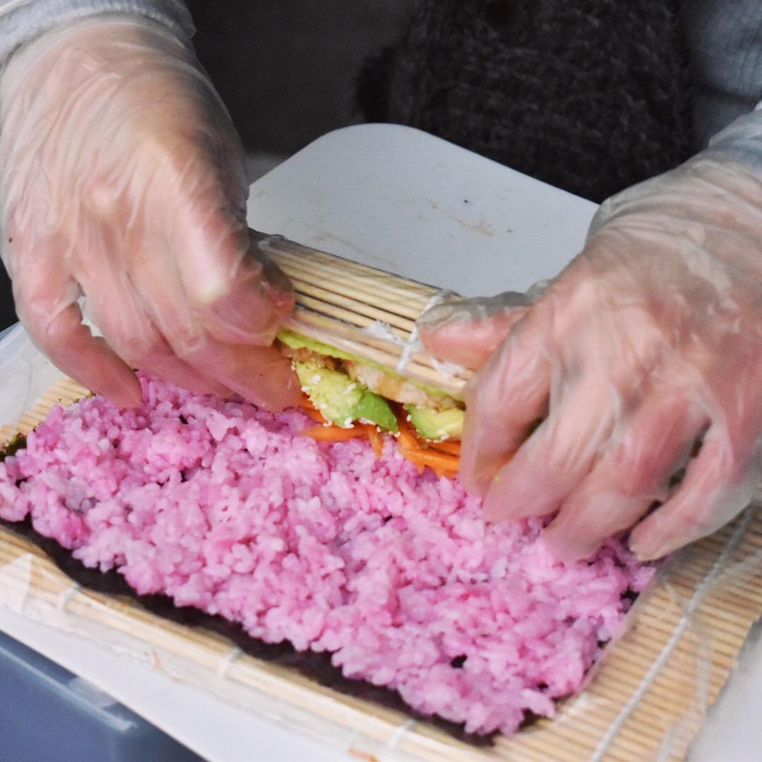 IMA rolling vegan sushi