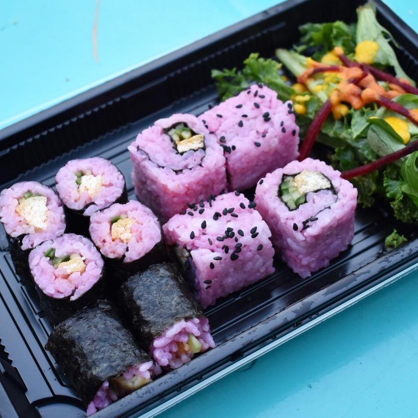 Delicious vegan sushi rolls at Vegan Broadway Market