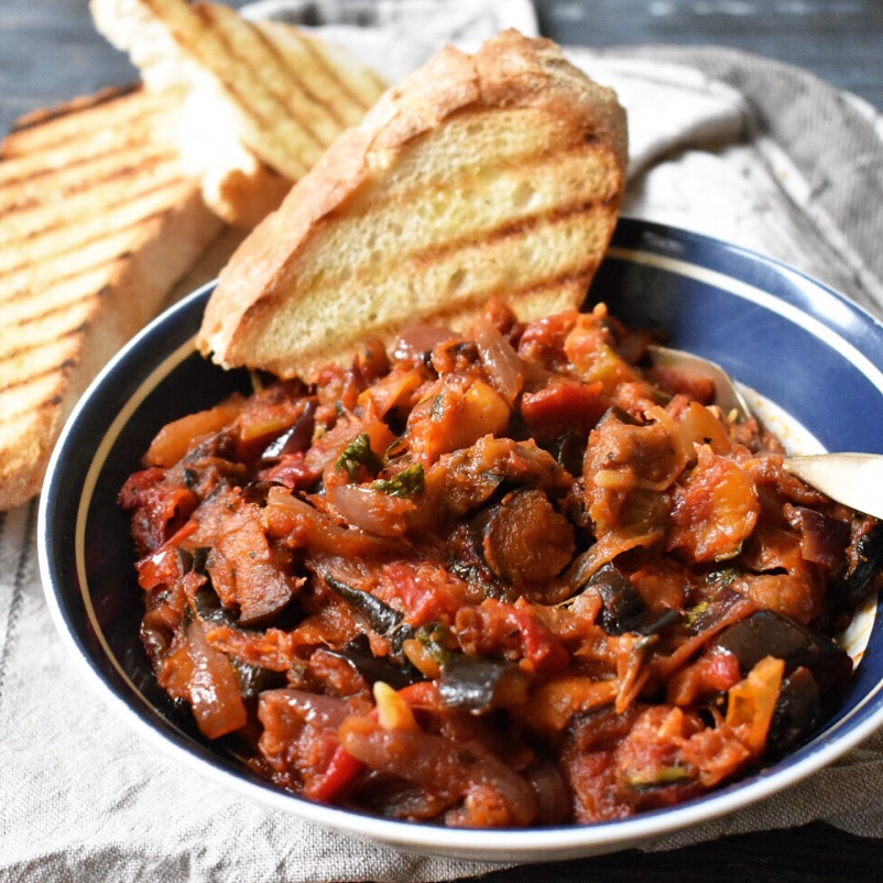 Vegan roasted vegetable ratatouille recipe - healthy and delicious
