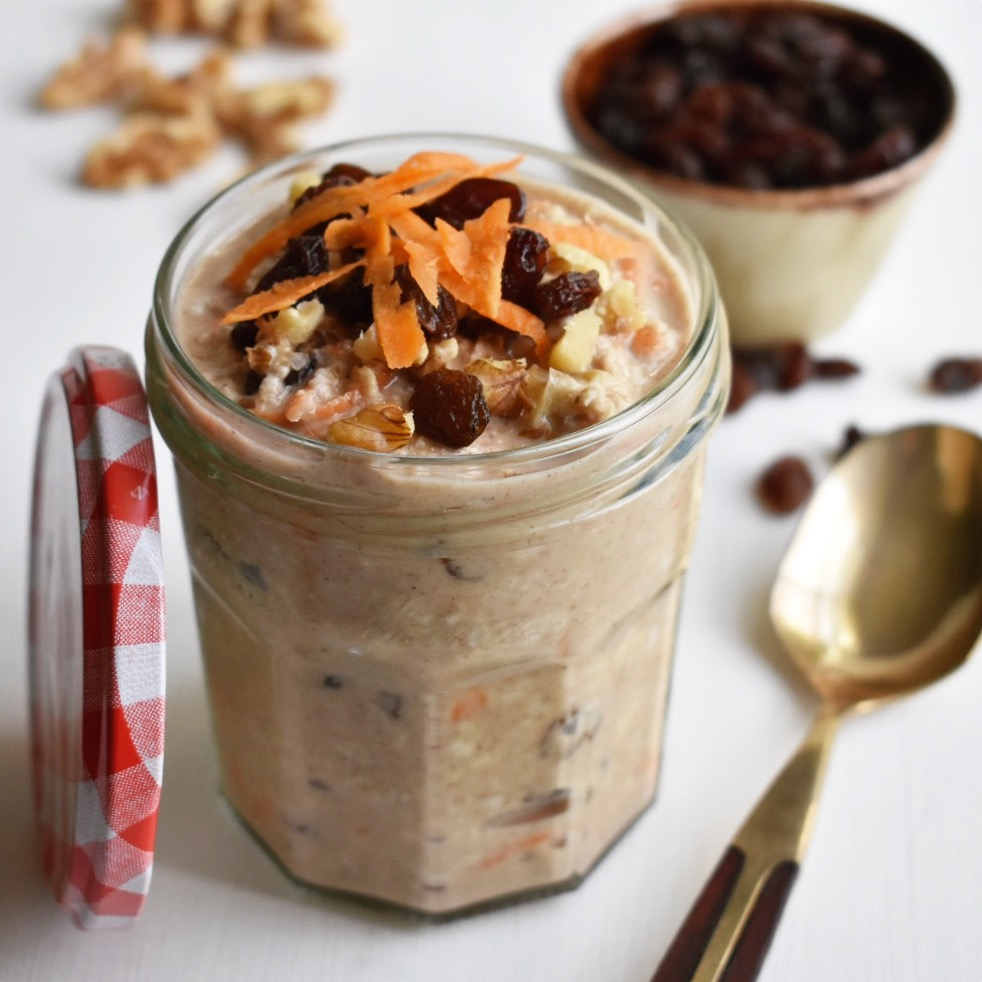 vegan carrot cake overnight oats recipe easy healthy and quick