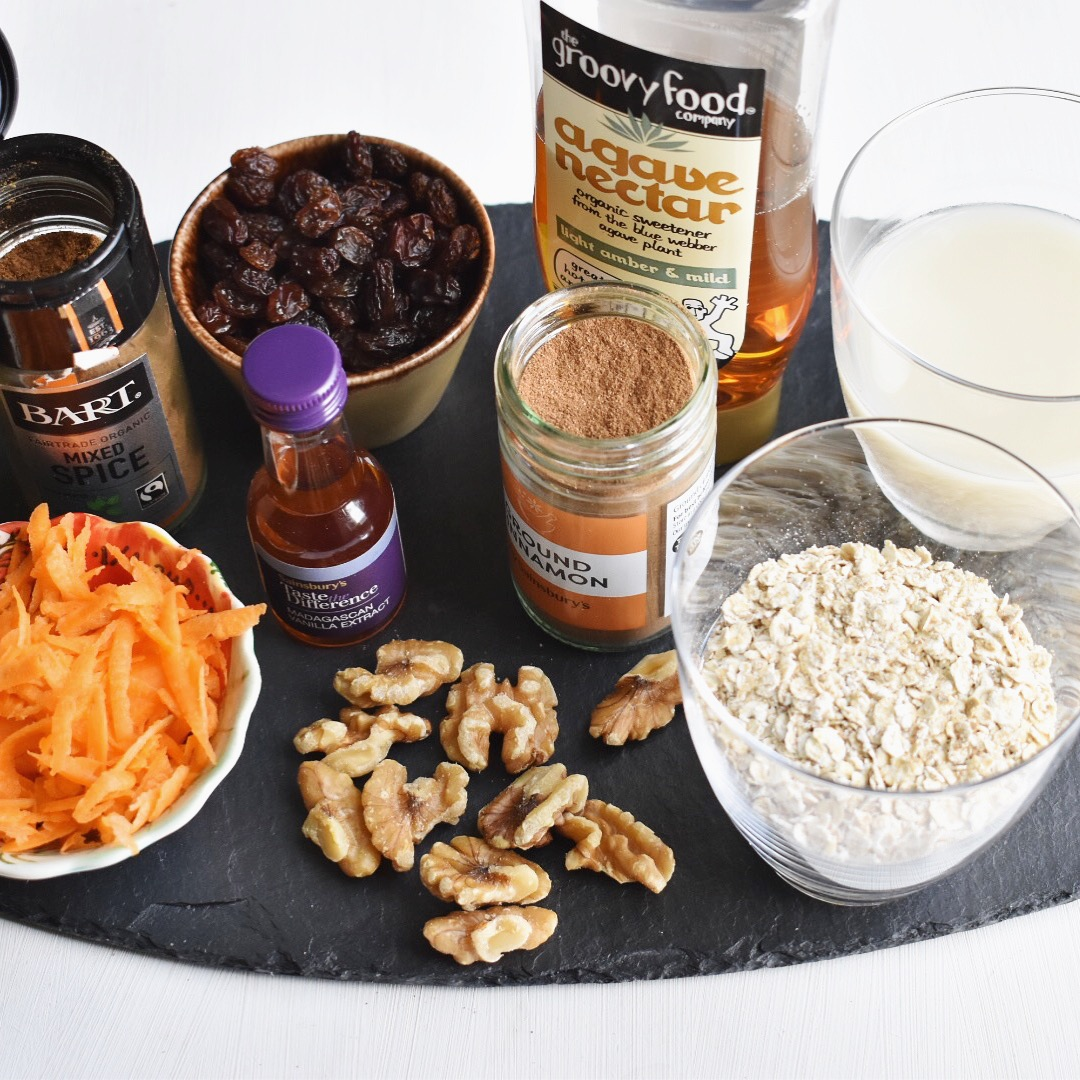 easy vegan carrot cake overnight oats recipe healthy and quick