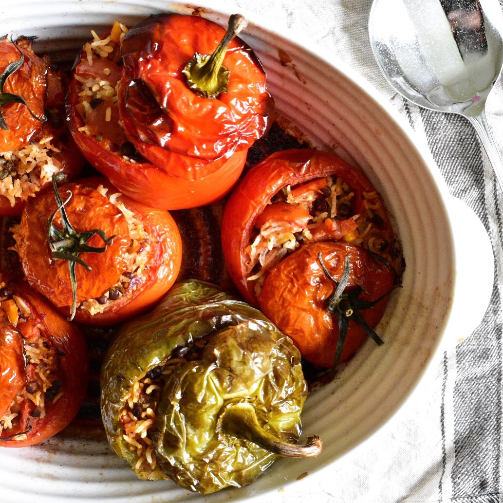 vegan gemista recipe greek stuffed peppers and tomatoes - healthy quick and easy