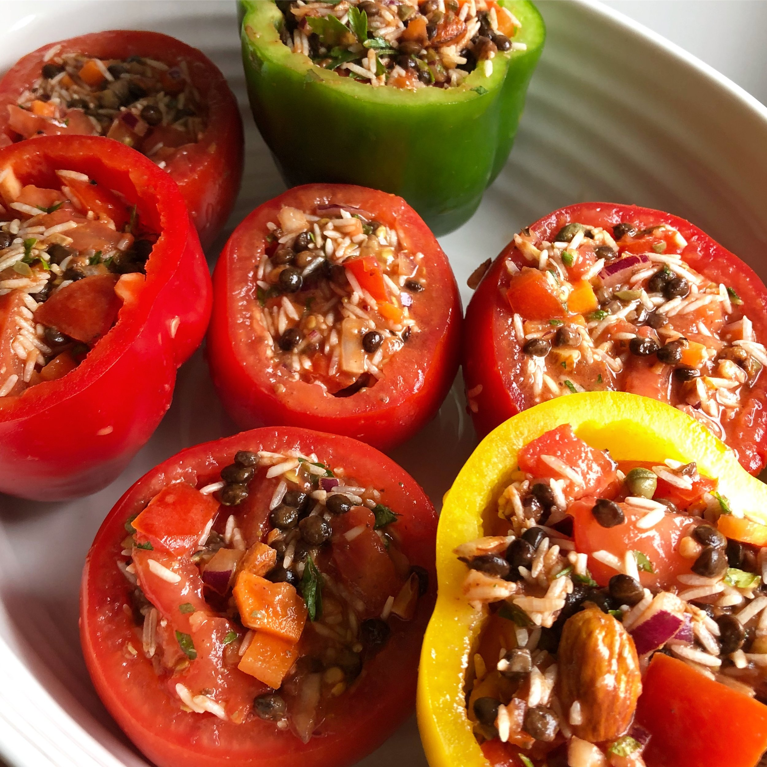 vegan gemista recipe greek stuffed peppers and tomatoes vegetarian rice lentils easy quick healthy
