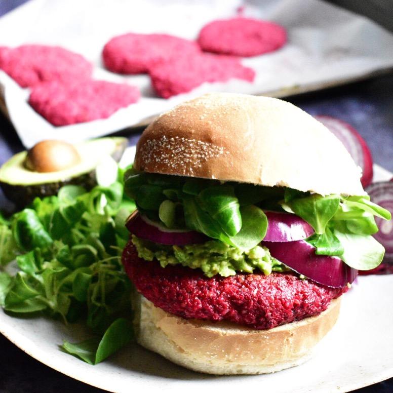 vegan beetroot and quinoa burger recipe veggie 'beet burger'