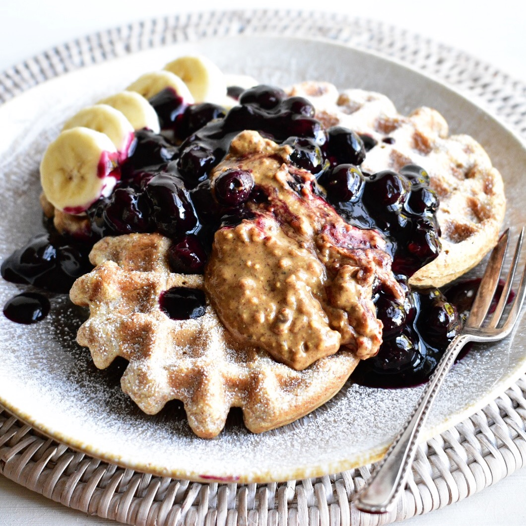 vegan waffles vegan waffle recipe plant based vegetarian healthy quick easy blueberry sauce
