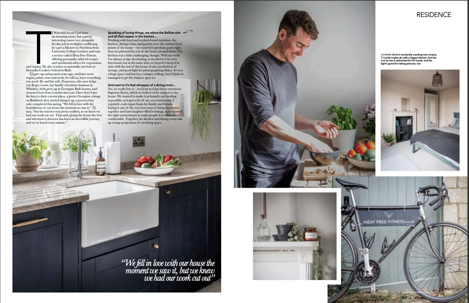vegan nutritionist tj waterfall bath life magazine feature interview article meat free fitness
