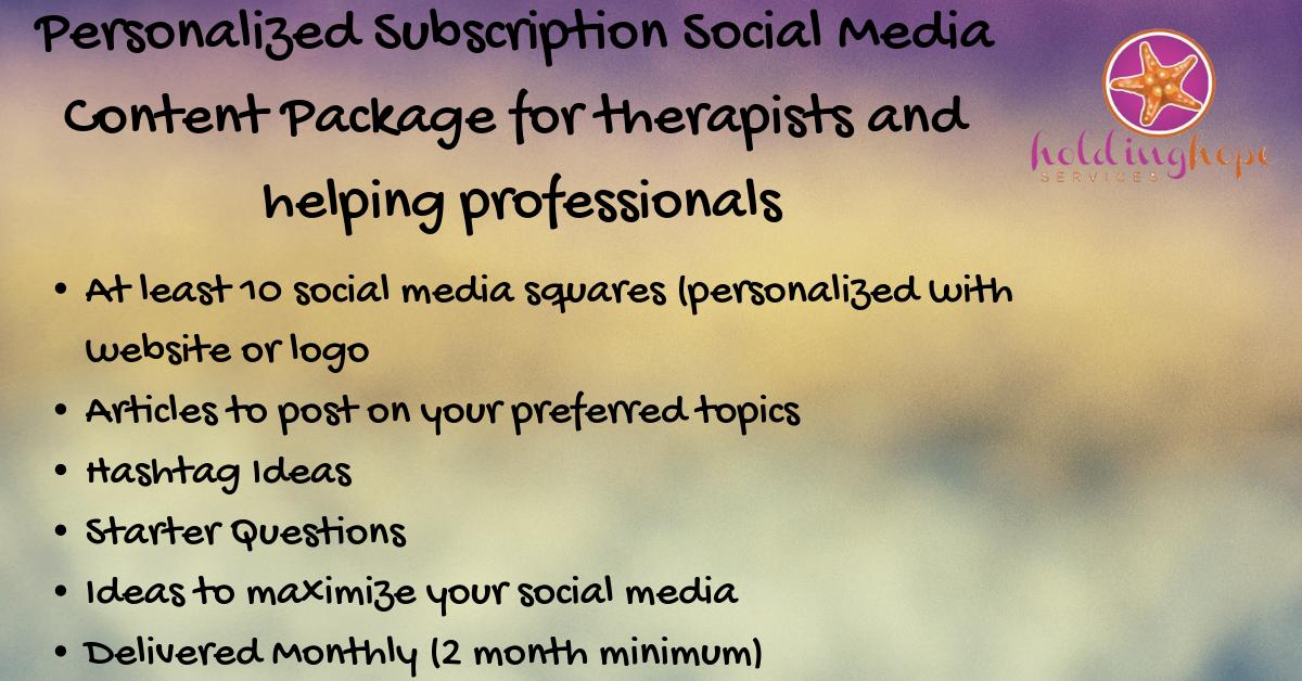 Social Media Content (Subscription) - 37.00/month (2 month minimum commitment)