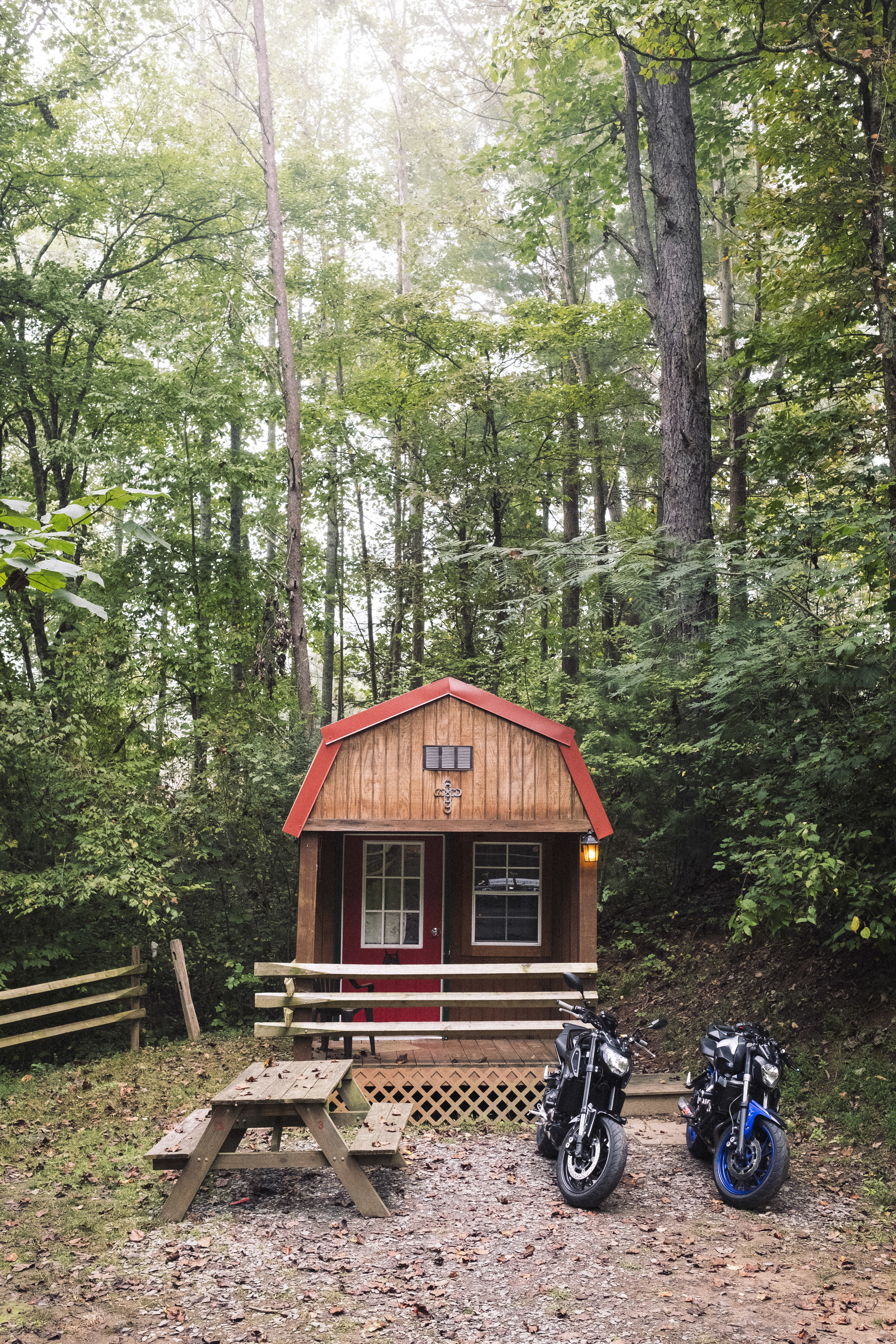 Our cabin for the weekend at Simple Living Camp Ground about a mile outside of Robbinsville.