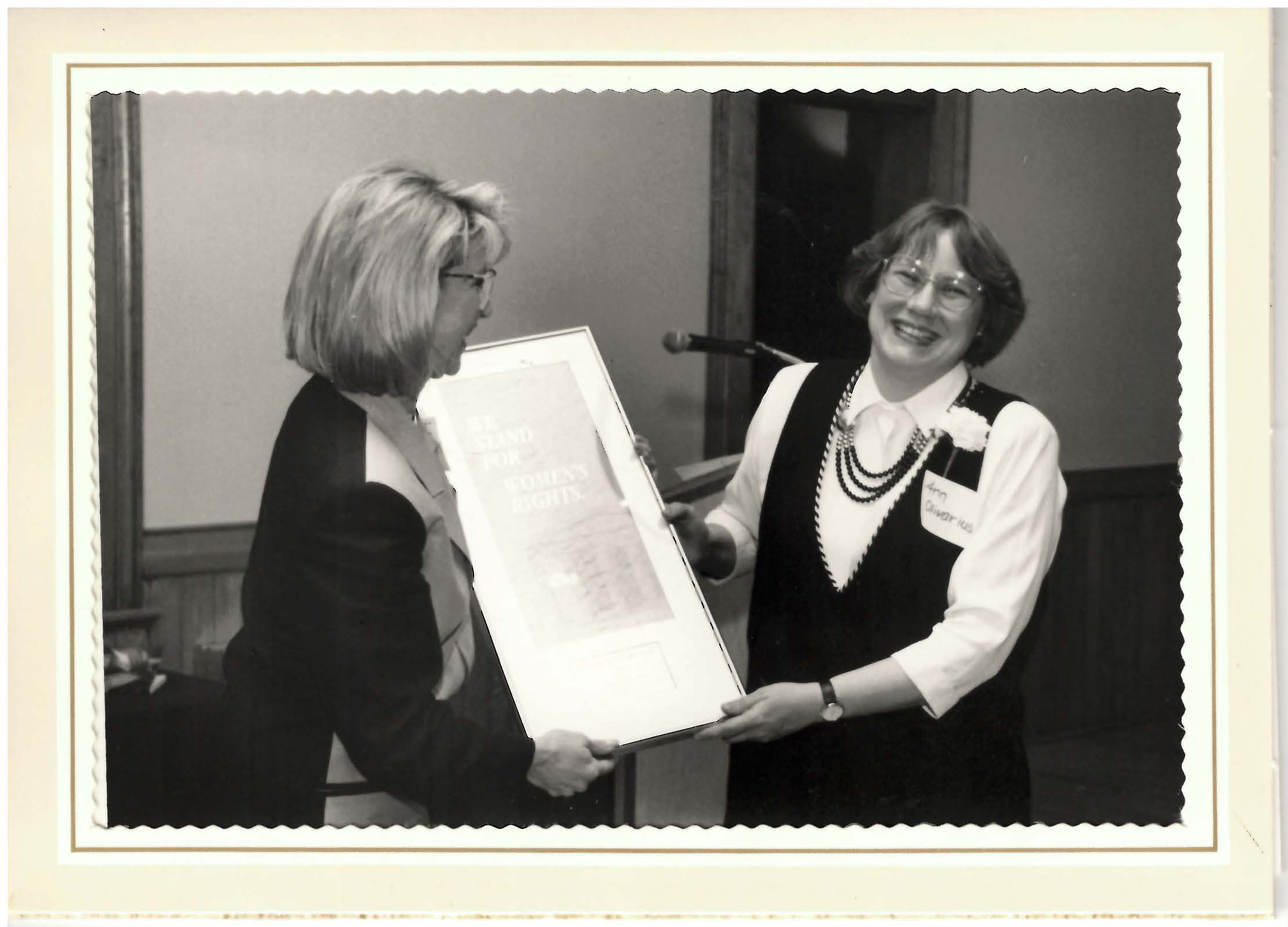 Dr Olivarius receiving the Martha Stewart Miller Legal Challenge Award in 1992