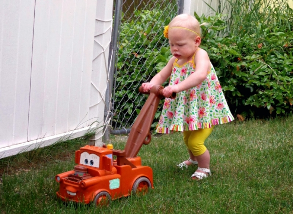 Kick the little darlings out of the yard when you mow. Yes, even if they cry.