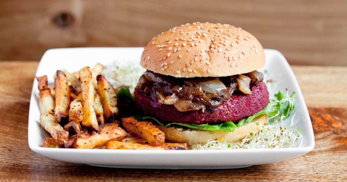 "The ""Copper Burger"" made with beets and brown rice."