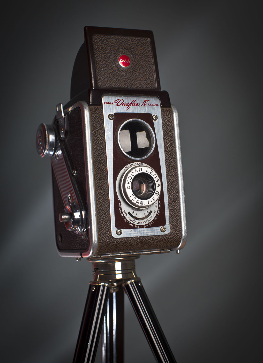 The camera has taken many forms since photography was discovered in the 1840's. Early cameras were hand-built from wood, brass, canvas and leather. With the introduction of roll-film by Kodak in the 1890's, picture-taking became popular and cameras evolved through mass production with ever-improving levels of style and technical innovation.
