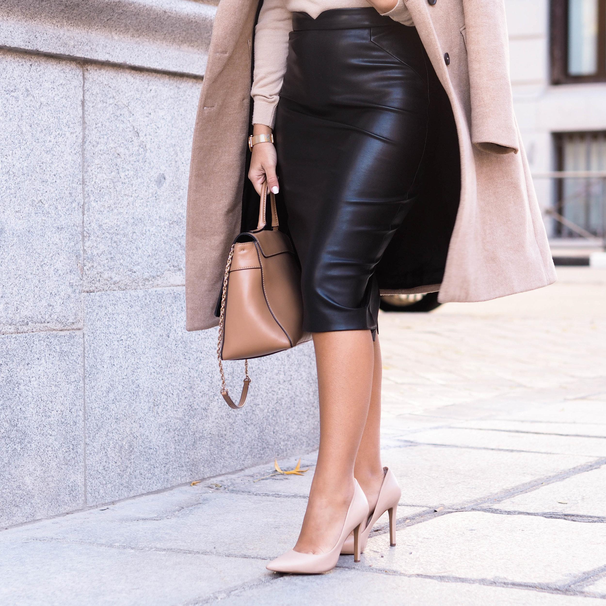 black faux-leather pencil skirt