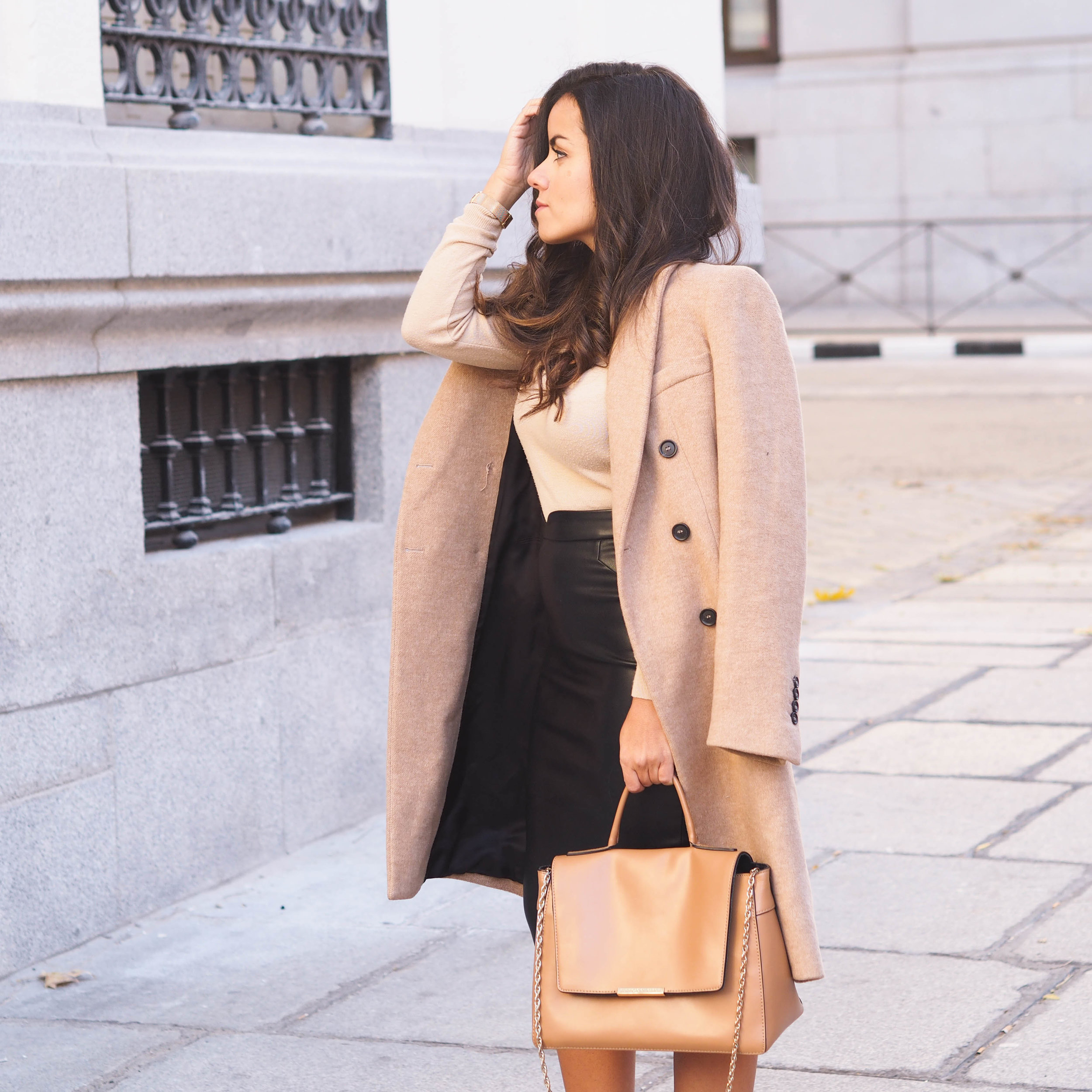 Camel Double-breasted Coat