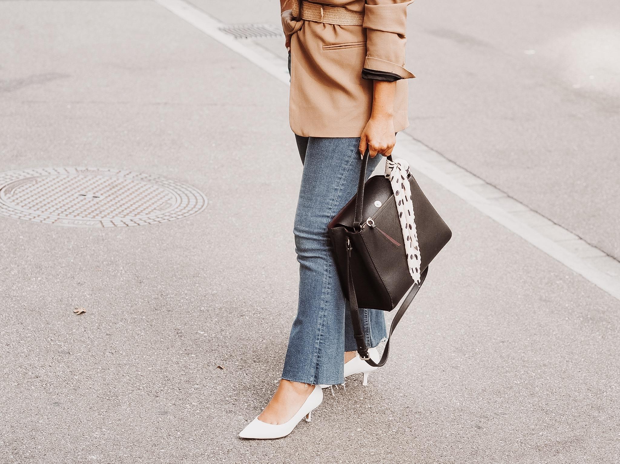 Flared jeans + camel belted blazer