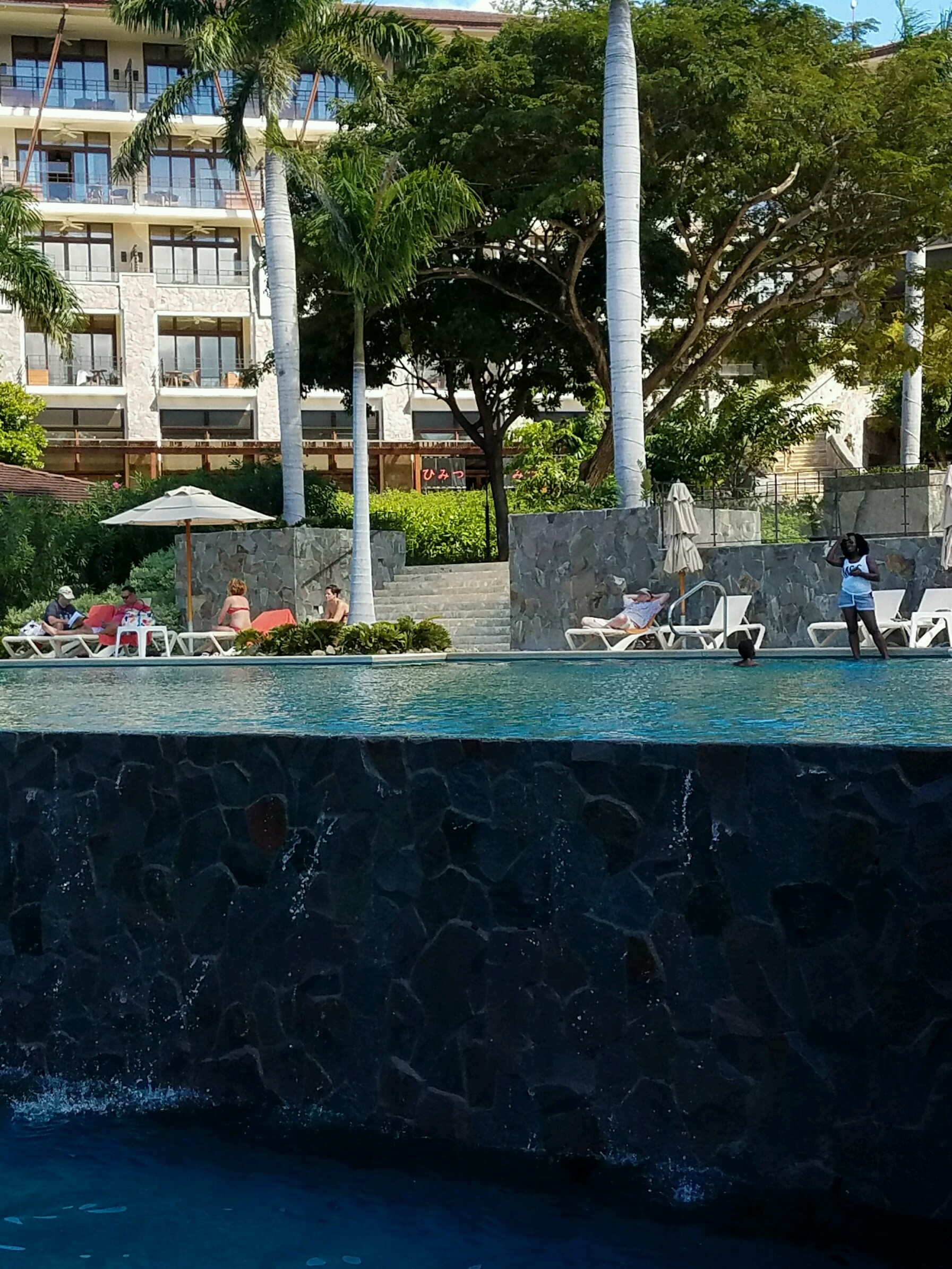 In   finity pools in the upper center of the resort. Bar and food service available during the day.