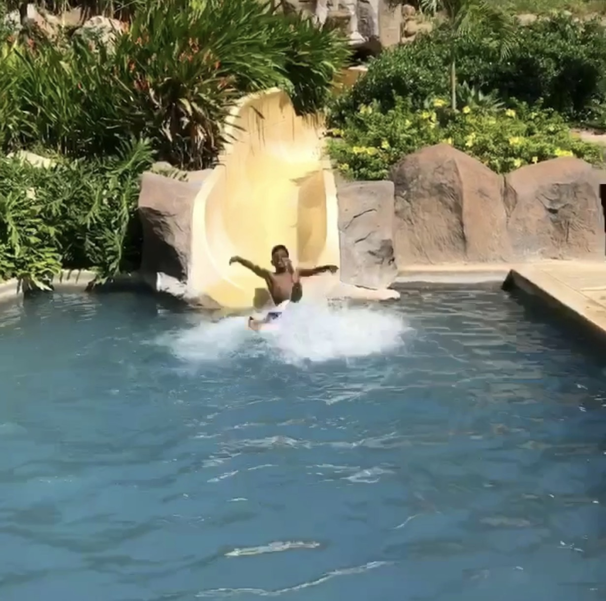 The kid's pool and slide was a big hit!