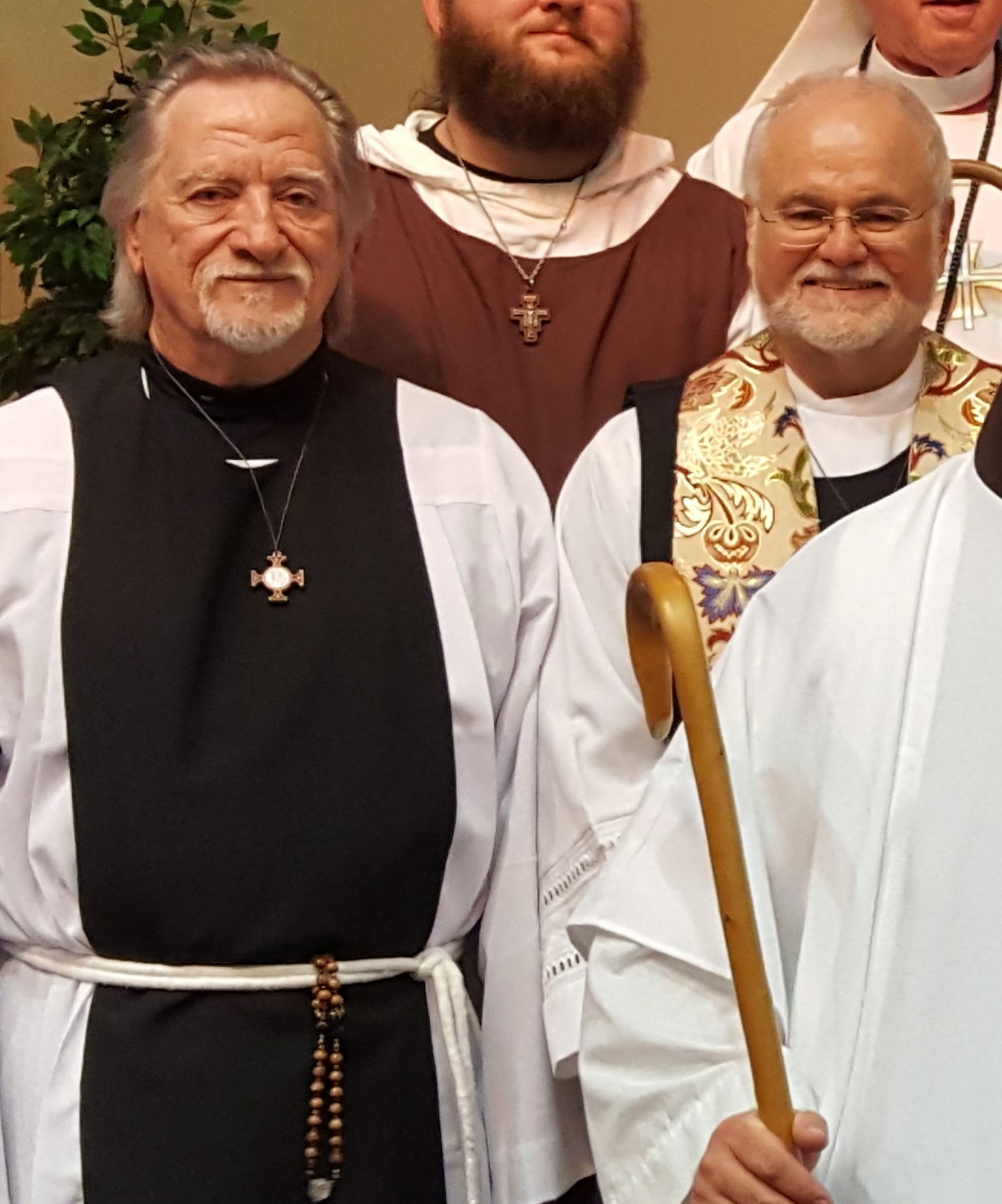 Br. Roy wearing his Benedictine scapular for the first official time with Fr. Jim