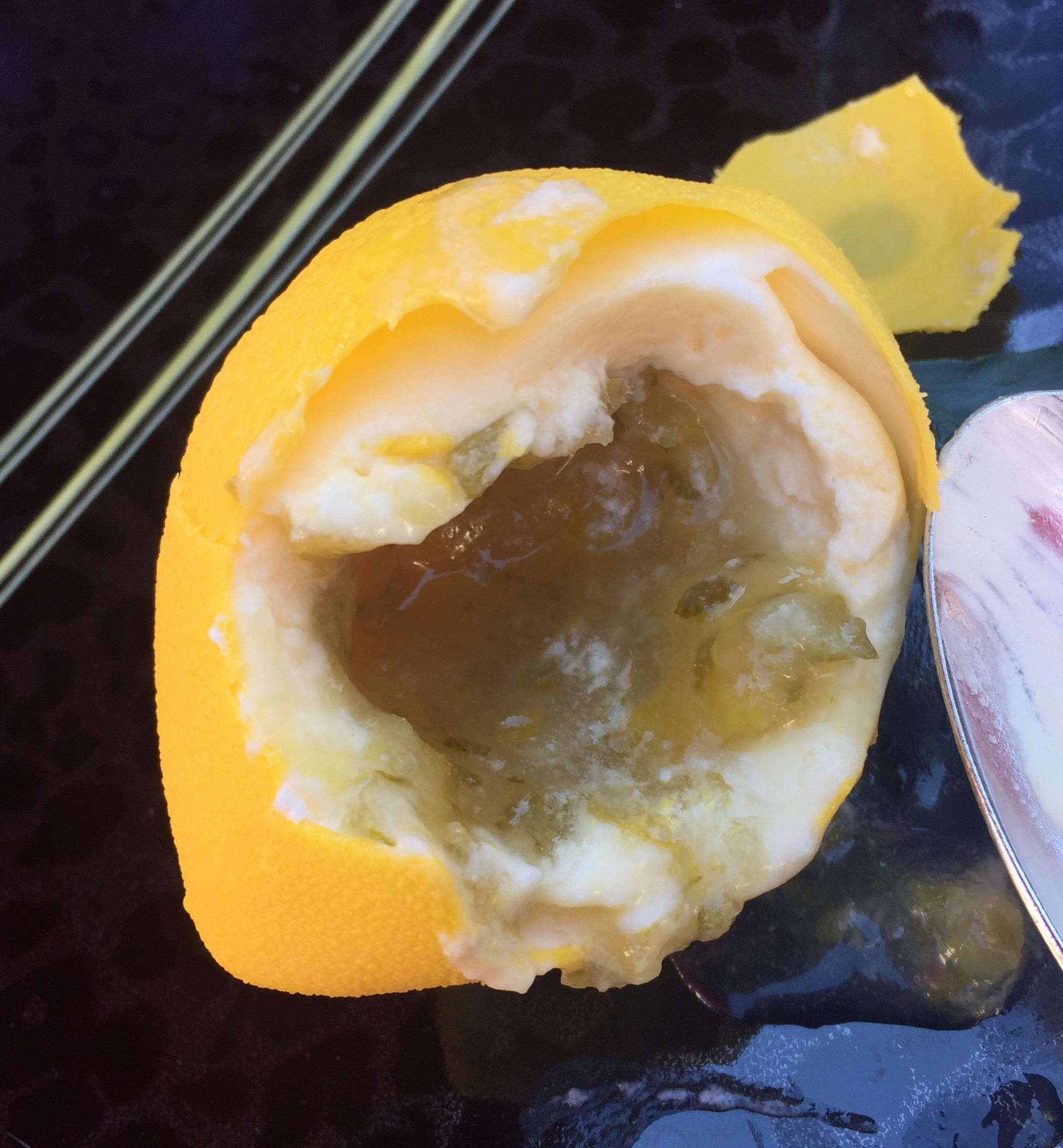 Lemon sorbet filled with super sour lemon jelly - It was like a Kinder surprise of sourness