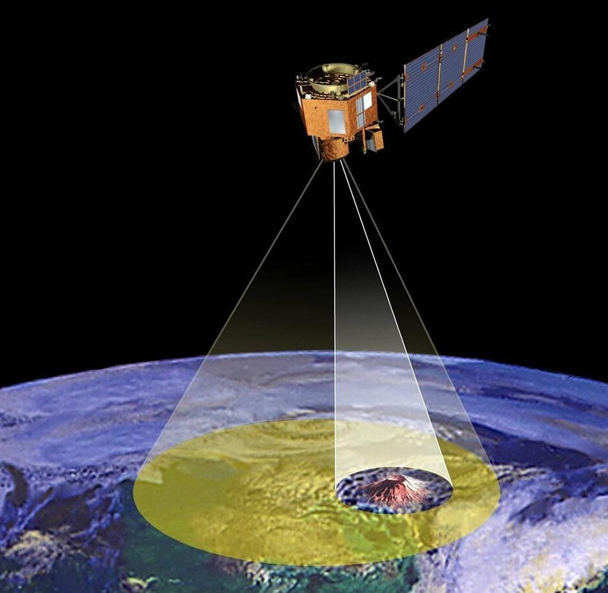 Artist's rendering of of Earth-Observing-1, an Earth science satellite that used AI to study lava lakes in an Icelandic volcano. JPL