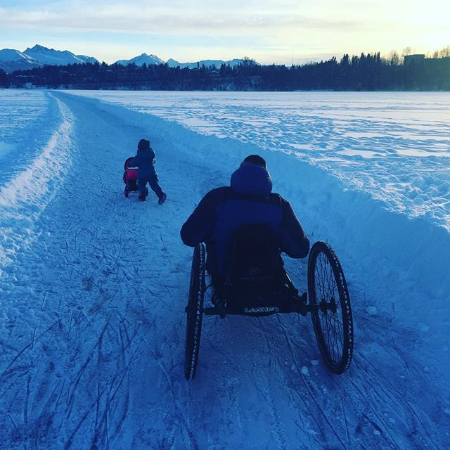 Heading into 2019 like this... Can you spot the Snowshoe Hare in picture #3? Here's to snowy trails, warm fires, and fun with friends and family. #optoutside #accessibletravel #alaska #happy2019 #strollers #alaskatoddlers #denali