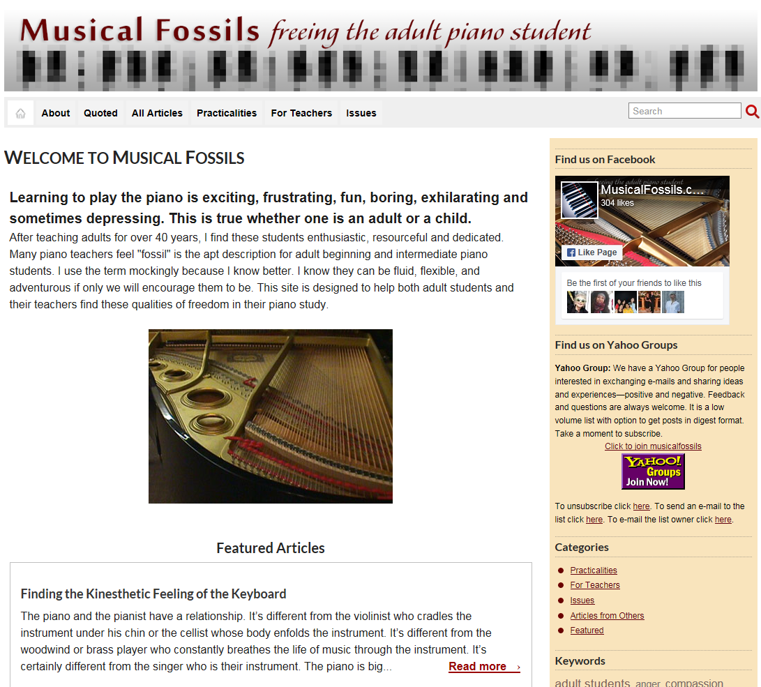 musicalfossils.com  Articles and tips for adult piano students