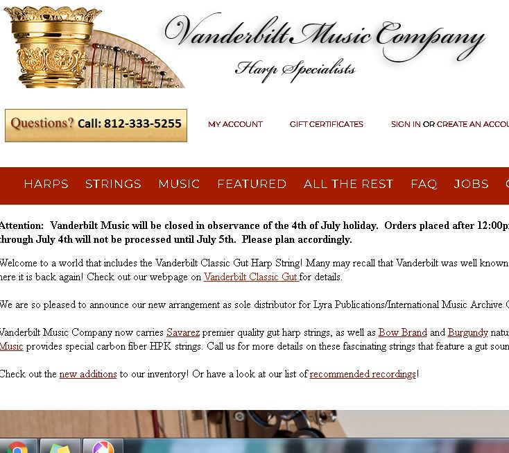 Vanderbiltmusic.com EXCELLENT RESOURCE FOR HARP STRINGS AND SHEET MUSIC