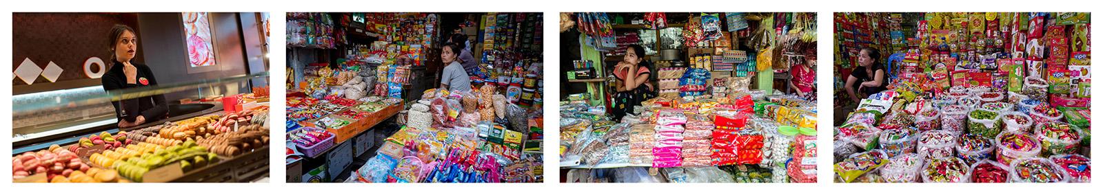 Sweets. Paris 2018, Hanoi 2016, Myanmar 2015, Hanoi 2016