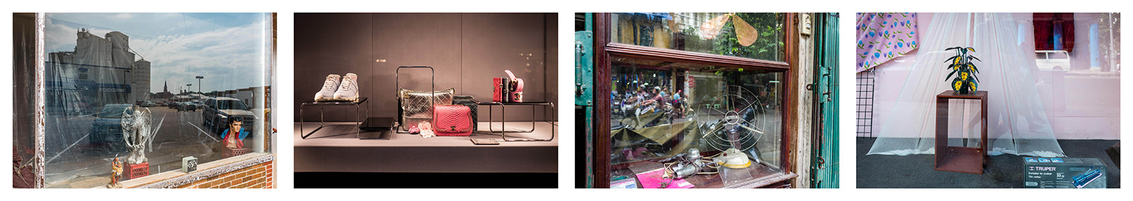 Shop windows. Iowa 2017, Paris 2018, Hanoi 2016, Havana 2017