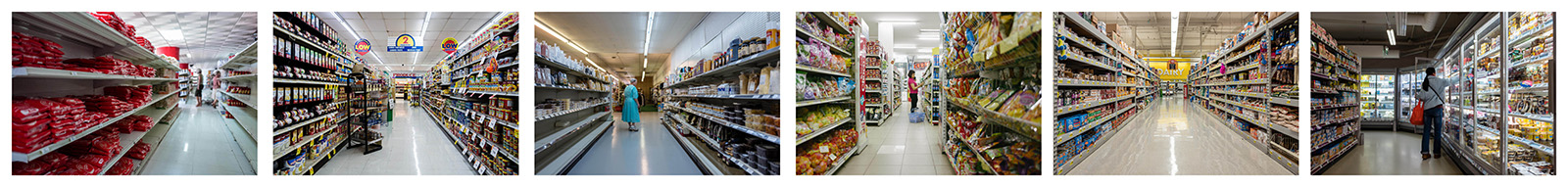 Grocery Aisles. Havana 2016, Iowa 2017, Missouri 2017, Hanoi 2016, Los Angeles 2017, Paris 2018