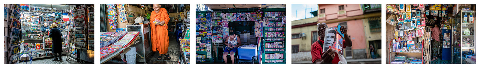 News stands. Paris 2018, Bangkok 2015, Los Angeles 2016, Havana 2017, Myanmar 2015