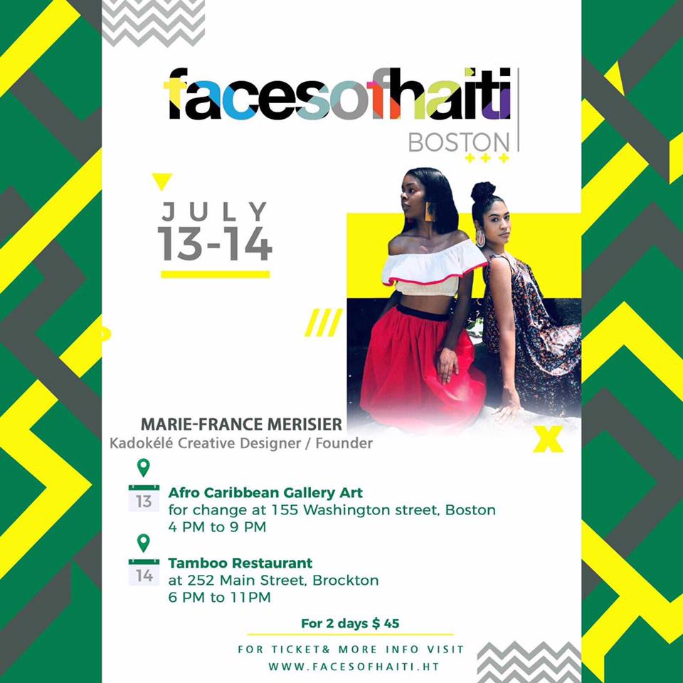 "JOIN KADOKÉLÉ at FACES OF HAÏTI BOSTON - Afro-Caribbean Gallery Art for Change155 Washington St, Boston MA 02121July 13 from 4-9 pmCLICK BELOW FOR TICKETS & MORE INFOWWW.FACESOFHAITI.HTProceeds from ticket sales will help build ""Konbit Bibliyotek,"" donations can be made through the eventbrite for those who can't attend."