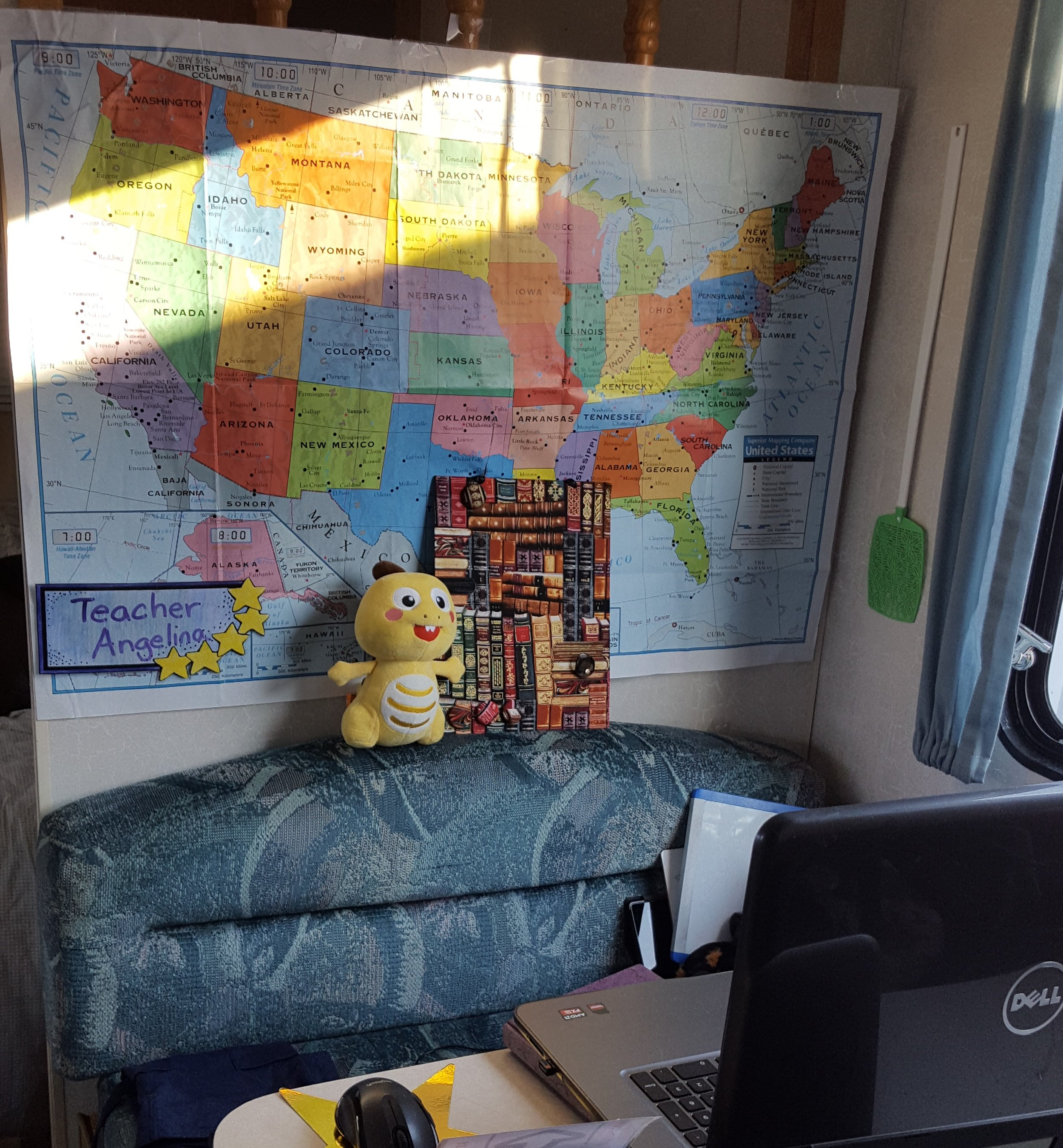 Here's my camper set-up. Note that the sunbeam and fly-swatter were not visible during class. This was where I worked for most of my 3 months of displacement.