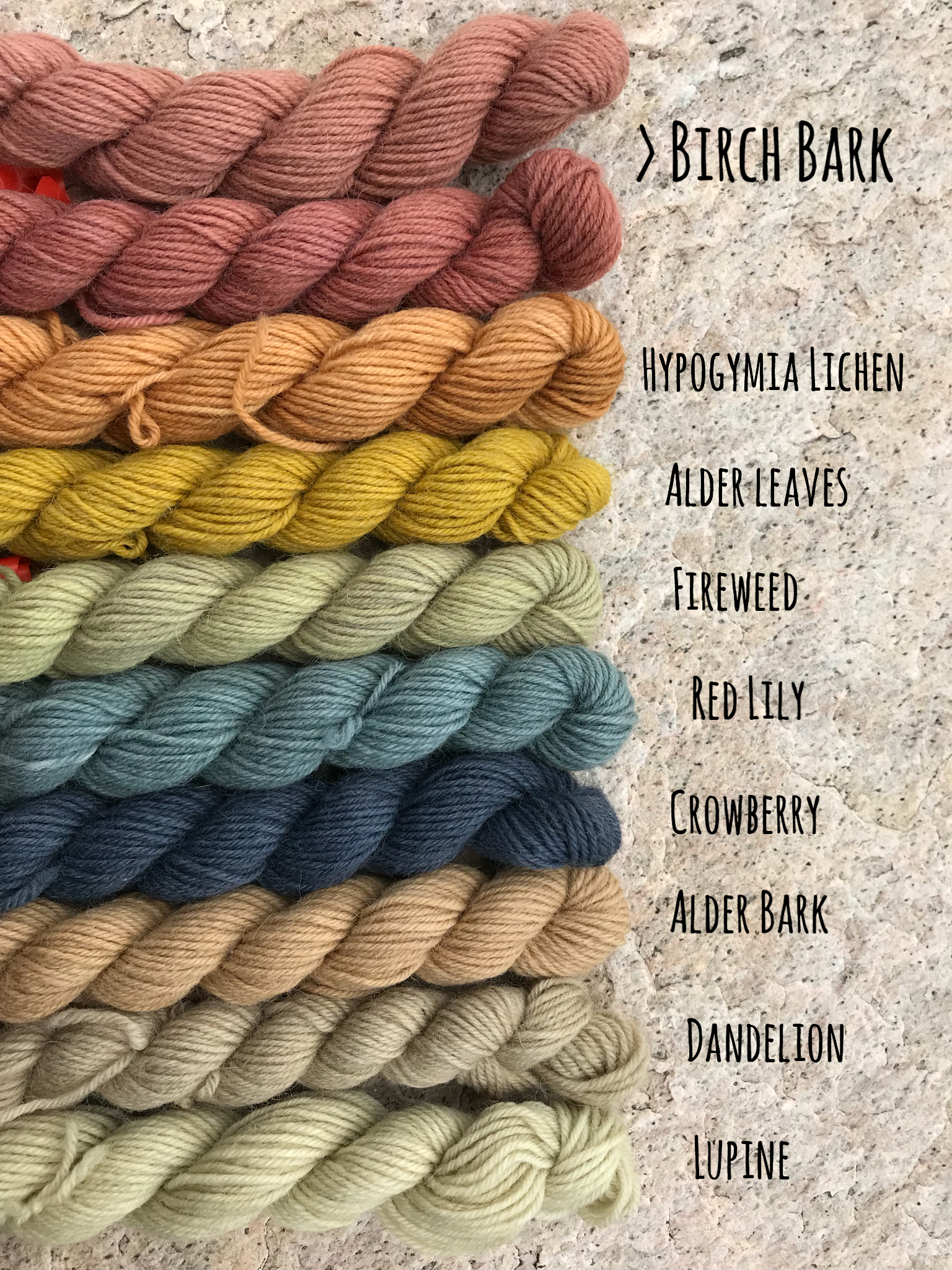 Natural dyeing yarn colors