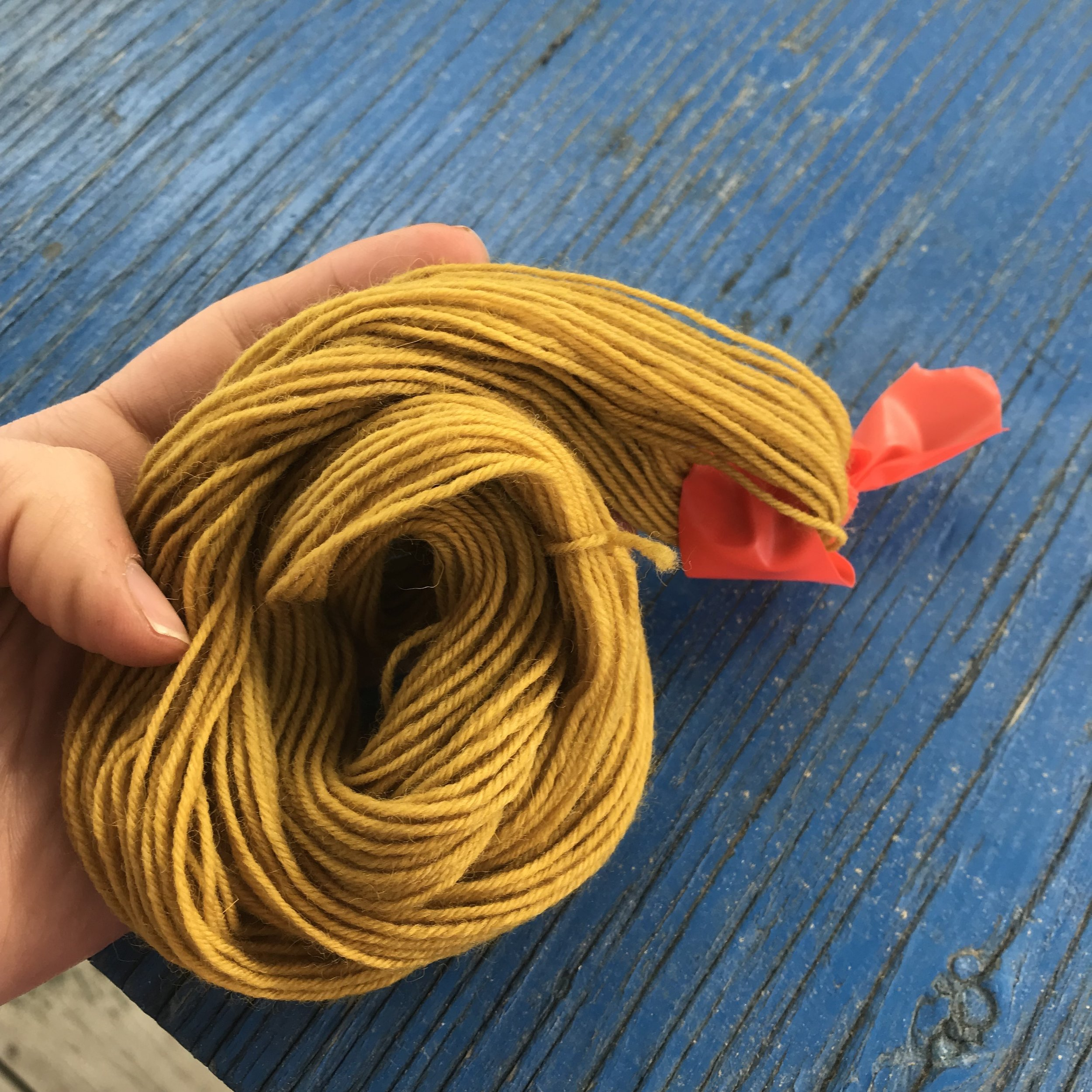Natural yellow dyed yarn